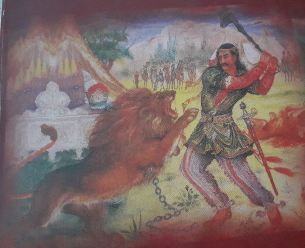 This image has an empty alt attribute; its file name is behramgur-and-lions.jpg